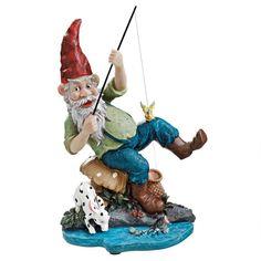 "Design Toscano Exclusive 12"" Multi Color Gone Fishing Garden Gnome Statue #DesignToscanoExclusive"