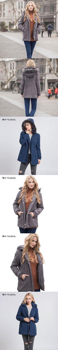 MS VASSA Ladies Parkas 2017 New Autumn Winter padded Women jacket detachable hood nice faux fur plus size 7XL casual outerwear