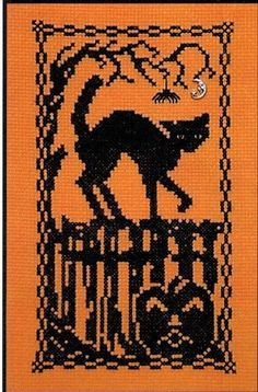 Halloween Silhouette Scary Cat- Cross Stitch Pattern