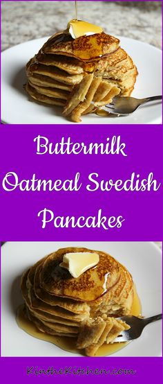 Easy and delicious pancakes – made with whole wheat flour, oats, and buttermilk.