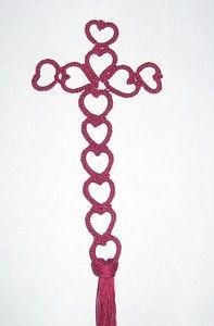 Heart's Afire Tatting Cross #Tatted #Tat #Bookmark