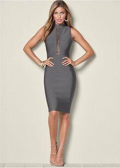 Venus Women's Slimming Mock Neck Dress