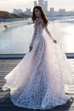 """Gorgeous Embroidered Slip A-Lain Wedding Dress / Bridal Gown with V-Neck and V-Back Cuts, Open Shoulder, Long Sleeves, Spaghetti Straps and a Train. Collection """"Solar Glare"""" by Natalia Romanova. Chic Wedding Dresses, Maxi Dress Wedding, Cheap Wedding Dress, Bridal Dresses, Prom Dresses, Evening Dresses, Illusion Dress, Long Sleeve Wedding, Tulle Dress"""