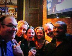 Writers Denis McGrath & Jonathan Lloyd Walker with Rachel Nichols, Simon Barry, and Roger Cross at the Continuum S3 wrap party - April 13, 2014 (via @heywriterboy on Twitter)