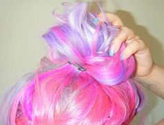 neon, pastel colored updo