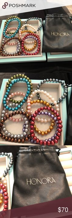 Honora 10 Freshwater Pearl Stretch Bracelets Set of 10 Freshwater Cultured Pearl Stretch bracelets.  Never worn.  Wear individually or collectively. Honora Jewelry Bracelets