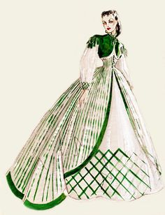 Walter Plunkett design sketches for Vivien Leigh's role as Scarlett O'Hara in the 1939 film Gone With the Wind