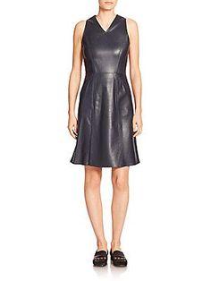 Tomas Maier Leather A-Line Dress - Dark Blue - Size 2
