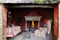 The garden room of Count Benedikt Bolza's rustic, centuries-old farmhouse in the hills of Umbria, Italy.