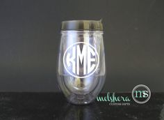 Smoke Lid Stemless Acrylic Wine Glass - Bev2Go -Custom Monogram Personalized Tumbler - Bridesmaid Gift