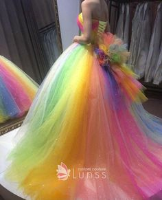 Beaded multi color rainbow tulle strapless Quinceanera ball gown Source by Colorful Prom Dresses, Cute Prom Dresses, Sweet 16 Dresses, Sweet Dress, Pretty Dresses, Beautiful Dresses, Rainbow Dresses, Colored Wedding Dresses, Ropa Color Pastel