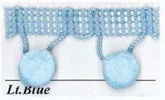 """Our popular Pom-Pom Fringe is the perfect choice for home projects and crafts. The trim has a simple but classic design that features 1/2"""" Pom-Pom's attached to a braid with loop accents. You can stitch this trim to your garments or glue it to your craft projects. Try adding the Pom-Pom trim to lampshades, window treatments, baby crib bedding, children's apparel, costumes, accessories, home decor, fashion apparel, craft projects, home furnishings & more!"""