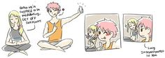 Nalu doing some kind of medidating thingy XD