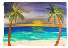 Aqua Palm Tree Beach Throw Blanket from my original art. Art is on one side and white on the other side. Choose from 4 sizes. 100% soft, warm polyester fleece Ink won't run, fade or distress Machine w