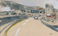Virginia Hein - Drive Home from the Desert in June #3 (Urban Sketchers)