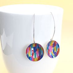 brushstroke-earrings-on-cup Silver Earrings, Silver Jewelry, Happy Vibes, Brush Strokes, Washer Necklace, Jewelry Design, Wraps, Gift Wrapping, Hand Painted