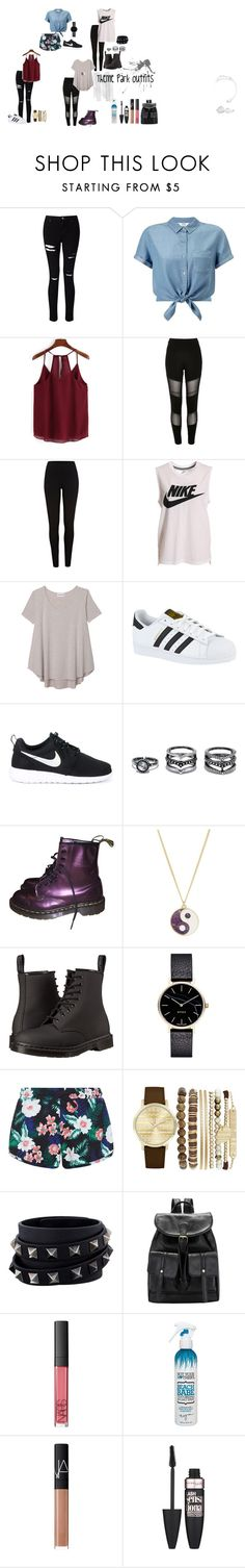 """""""Theme Park outfits"""" by annabelle-perez-donate on Polyvore featuring Miss Selfridge, River Island, NIKE, Olive + Oak, adidas, LULUS, Dr. Martens, Monsoon, Myku and New Look"""
