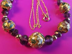 14k Gold Amethyst Faceted Rondelles Cloissone and by GoldnBeads