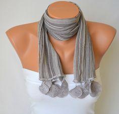 grey chiffon fashion scarf valentines day gifts birthday by bstyle, $15.00