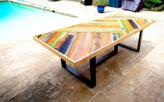 Custom Chevron Table by Sarah W Reiss - made from reclaimed bowling alley flooring, gym flooring and other wood pieces