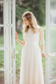 Shop affordable A-Line Tulle Lace Organza Satin Wedding Dress at June Bridals! Over 8000 Chic wedding, bridesmaid, prom dresses & more are on hot sale. Modest Wedding Gowns, Wedding Dress Sash, Elegant Wedding Dress, Dream Wedding Dresses, Bridal Dresses, Boho Wedding Dress Bohemian, Bridal Lace, Lace Dress, Tulle Lace