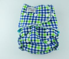Blue Green Plaid One Size Serged Fitted Cloth Diaper 8-35 lbs with Heavy Organic Bamboo Fleece and Aqua Blue Cotton Velour White Snaps by BICKLEBEAR, $28.00  http://bicklebear.etsy.com