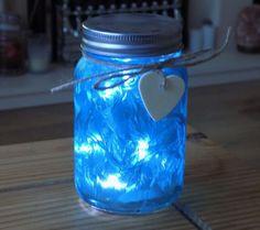 Firefly Mason Jar - Frosted Blue