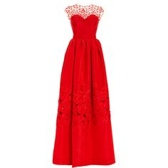 Oscar de la Renta Illusion Neck Floral Threadwork Embroidered Gown featuring polyvore fashion clothing dresses gowns beaded evening gowns floral print evening gown a line dress red dress red a line dress