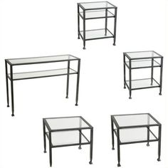 Southern Enterprises Guthrie 5 Piece Glass Metal Table Set ($418) ❤ liked on Polyvore featuring home, furniture, tables, accent tables, metal storage shelf, storage shelving, glass shelving, metal shelves and metal storage shelving
