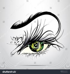Vector silhouette of eyes with cat