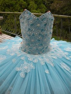 Margaret Shore light blue with white lace.