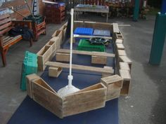 Our Pirate Ship - made using 'Community Playthings' blocks - a table shade pole made our mast! Pirate Activities, Nursery Activities, Summer Activities, Pirate Preschool, Pirate Crafts, Pirate Day, Pirate Theme, Pirate Birthday, Eyfs Outdoor Area