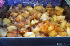 Prăjitură fără coacere cu mere, biscuiți și budincă de vanilie   Savori Urbane Chana Masala, I Foods, Bakery, Recipies, Deserts, Potatoes, Vegetables, Ethnic Recipes, Fine Dining