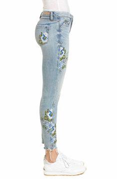 Painted Jeans, Painted Clothes, Trouser Pants, Trousers Women, Denim Pants, Flower Jeans, T Shirt Painting, Blouses For Women, Ladies Blouses