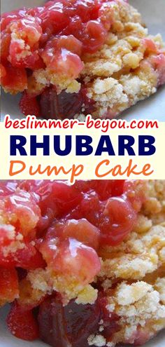 """I must admit that the word """"dump"""" doesn't always conjure up a wonderful mental image, but when I found this pin for Rhubarb Dump Cake I knew that I wanted to try it because it looked so easy! An is part of Rhubarb dump cakes - Dump Cake Recipes, Ww Recipes, Baking Recipes, Recipe For Dump Cake, Snacks Recipes, Waffle Recipes, Burger Recipes, Quick Recipes, Recipes"""