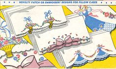Vogart 146 Baskets, Ribbons & Sunbonnet for Pillow Cases. A 1940s hand embroidery Pattern.