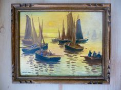 My Vesties Wish List Item Vintage French Oil Painting Signed 1935 Brittany by OneFairfaxRoad