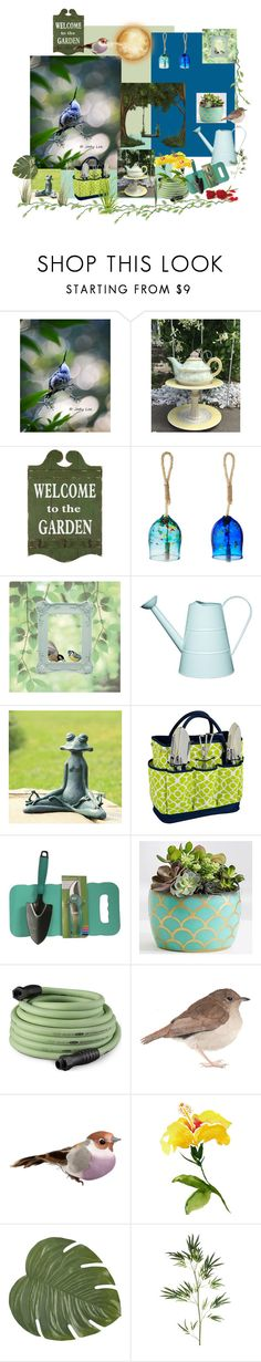"""""""Welcome to my Garden"""" by putterpaws ❤ liked on Polyvore featuring interior, interiors, interior design, home, home decor, interior decorating, Kitras Art Glass, Improvements, Picnic at Ascot and Dicky Bird"""