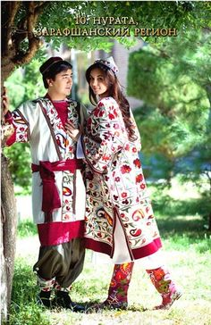 Traditional folk costumes from Zarafsan, Navoiy Region, Uzbekistan.
