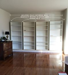 How to build a faux wall of built-in bookcases using IKEA billy bookshelves to create beautiful shelving. Full tutorial and how to do it in this post. hacks storage billy bookcases How to build DIY Built In Bookcases from IKEA Billy Bookshelves Ikea Bookcase, Bookshelves Built In, Built Ins, Billy Bookcases, Billy Bookcase With Doors, Diy Built In Shelves, Diy Bookshelf Wall, Room Divider Bookcase, Living Room Bookcase