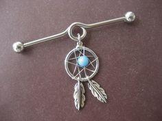 Industrial Piercing Barbell Dream Catcher Charm Dangle Turquoise Beaded Dreamcatcher 14 Gauge Bar. $17.00, via Etsy.