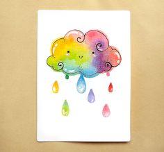 Rainbow Cloud Raindrops Illustration Print Cute by BeagleCakesArt, $15.00