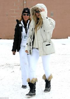 Ready for the slopes: Elle Macpherson looks stylish in her ski-wear