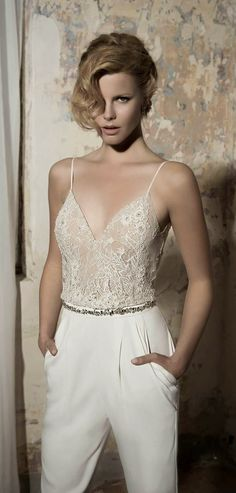 Lace topped wedding pantsuit. Lihi Hod 2014 Bridal Collection | bellethemagazine.com