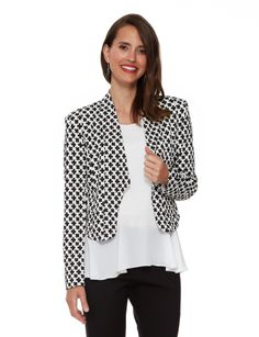 Featuring a black and white clover print, this cropped, fitted jacket is in a comfortable textured knit fabric. Then And Now, Knitted Fabric, Fashion Accessories, Black And White, Knitting, Farmers, Jackets, Seasons, Outfits