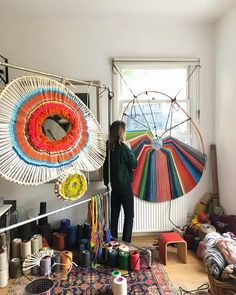 HOME STUDIO It's great to be back on the loom working on a new piece. Weaving Loom Diy, Weaving Art, Tapestry Weaving, Textile Fiber Art, Textile Artists, Circular Weaving, Creative Textiles, Diy Fall Wreath, Giant Paper Flowers