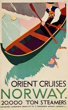 1933 Orient Cruises Norway Bernard Venables Mini Poster