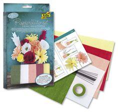 Ein Blumenstrauß mal anders - mit dem Papierblütenset von folia können sie mindestens elf Blüten pro Set selbst herstellen. Mehr unter www.folia.de
