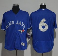 fd6f6bd0d 2017 MLB Toronto Blue Jays 6 no name Blue Fashion Edition Jerseys