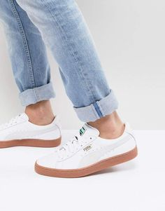 separation shoes 36341 096b0 Puma Basket Classic Gum Sneakers In White 36536601